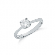 Sterling silver Round cubic zirconia Four claw solitaire ring